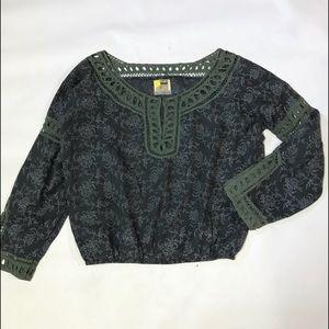 Free People Women's L/S Blouse Sz Small Gray Green